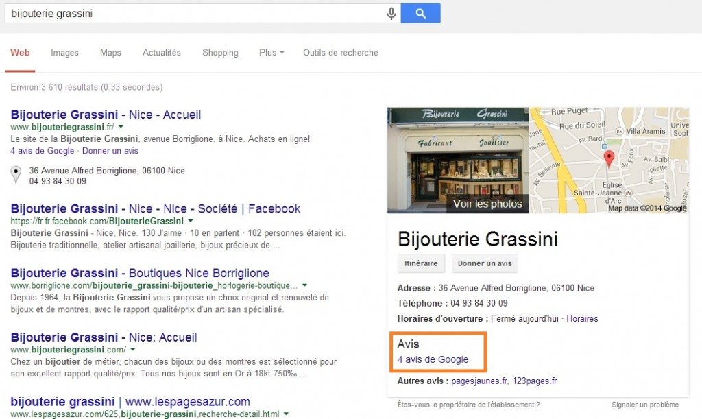 Google plus local bijouterie grassini